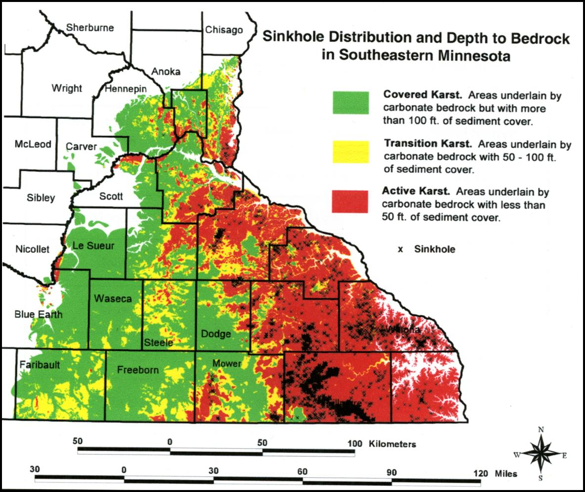 Watch Your Step Sinkholes In Minnesota - Map of us sinkholes